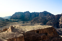 Petra - Jordan. Plateau from High Place in Petra, Jordan. View to the temple Qasr Al-Bint. Nabataeans capital city (Al Khazneh). Made by digging the rocks. Roman Royalty Free Stock Photography