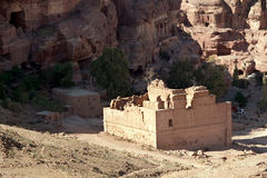 Petra - Jordan. Panorama detail from High Place of Sacrifice in Petra, Jordan. View to the temple Qasr Al-Bint. Nabataeans capital city (Al Khazneh). Made by Royalty Free Stock Photo