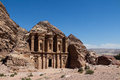 Petra in Jordan. Ad Deir,or theMonastery,is one of the lagest monuments in Petra measuring 47m wide by 48.3m high.The interior is occupied by two side benches stock photos