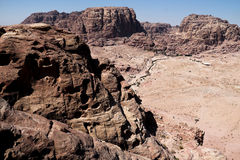 Petra in Jordan. It is almost all carved on the rock, Petra because its color is called rose city.In fact, the rock is not only red and light blue, orange stock image