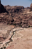 Petra in Jordan. It is almost all carved on the rock, Petra because its color is called rose city.In fact, the rock is not only red and light blue, orange royalty free stock photos