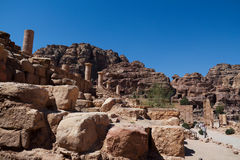 Petra in Jordan. It is almost all carved on the rock, Petra because its color is called rose city.In fact, the rock is not only red and light blue, orange Stock Photos