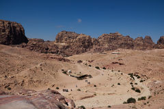 Petra in Jordan. It is almost all carved on the rock, Petra because its color is called rose city.In fact, the rock is not only red and light blue, orange royalty free stock photo