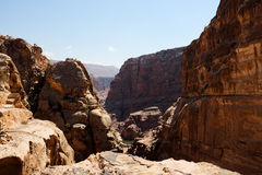 Petra canyon in Jordan. It is almost all carved on the rock, Petra because its color is called rose city.In fact, the rock is not only red and light blue, orange stock photo
