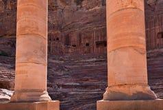 Petra in Jordan. The ancient amphitheater in the lost city of Petra, Jordan Stock Images
