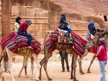 PETRA, JORDAN: Group of tourists on camels in Petra Rose City. PETRA, JORDAN Stock Images