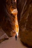 Petra Jordan. Initial view of Treasury of Petra the lost city in Jordan Stock Photos