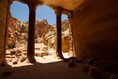 Petra, Jordan. Interior of an ancient building carved into the mountain in the Nabatean city of Petra, Jordan Royalty Free Stock Images