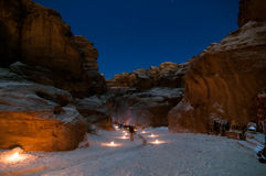 Petra, Jordan at Night Stock Photography