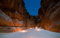 Petra, Jordan at Night. Trail to the Treasury (Khasneh) in Petra, Jordan at night - one of most beautiful sites in middle east Royalty Free Stock Images