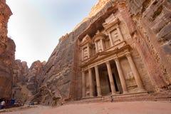 Petra in Jordan. PETRA, JORDAN - OCTOBER 12: The treasury or Al Khazna, it is the most magnificant and famous facade in Petra Jordan, it is 40 meters high, 2014 Stock Images