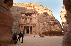 Petra in Jordan. PETRA, JORDAN - OCTOBER 12: The treasury or Al Khazna is the most magnificant and famous facade in Petra Jordan, it is 40 meters high, 2014 in Royalty Free Stock Photos