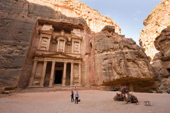 Petra in Jordan. PETRA, JORDAN - OCTOBER 12: The treasury or Al Khazna, it is the most magnificant and famous facade in Petra Jordan, it is 40 meters high, 2014 Royalty Free Stock Photography