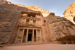 Petra in Jordan. PETRA, JORDAN - OCTOBER 12: The treasury is also called Al Khazna, it is the most magnificant and famous facade in Petra Jordan, it is 40 meters Royalty Free Stock Photography