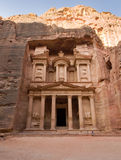 Petra in Jordan. PETRA, JORDAN - OCTOBER 12: The treasury is also called Al Khazna, it is the most magnificant and famous facade in Petra Jordan, it is 40 meters Stock Image