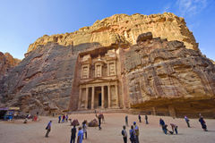 Petra in Jordan. PETRA, JORDAN - 12OCTOBER, 2014: The treasury is also called Al Khazna, it is the most magnificant and famous facade in Petra Jordan, it is 40 Stock Images