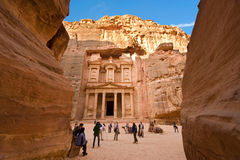 Petra in Jordan. PETRA, JORDAN - 12OCTOBER, 2014: The treasury is also called Al Khazna, it is the most magnificant and famous facade in Petra Jordan, it is 40 Royalty Free Stock Photos