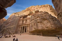 Petra in Jordan. PETRA, JORDAN - 12OCTOBER, 2014: The treasury is also called Al Khazna, it is the most magnificant and famous facade in Petra Jordan, it is 40 Royalty Free Stock Photo