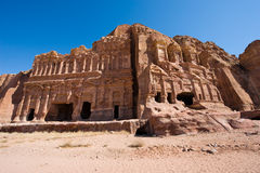 Petra in Jordan. The Palace tomb (left) and the Corinthian tomb, two of the 'Royal Tombs' in Petra in Jordan Stock Image