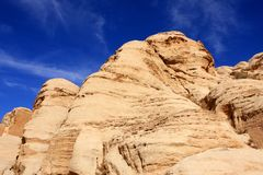 Petra in Jordan. Rock formations in the nabatean city of Petra in Jordan Stock Photo