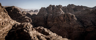 Petra in Jordan. The rocks in which the ancient city of Petra was carved in southern Jordan Royalty Free Stock Images