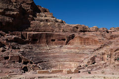 Petra in Jordan. The Theatre.Carved into the side of the mountain at the foot of the high place of Sacrifice,the theatre consists of three rows of seats Stock Image