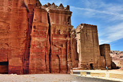 Petra, Jordan. Tombs that are called 'The street of facades' in Petra in Jordan Royalty Free Stock Photography