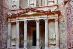 Petra in Jordan. The Treasure El Khasneh.  Petra`s temples, tombs, theaters and other buildings are scattered over 400 square miles. UNESCO world heritage site Royalty Free Stock Photo