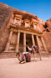 Petra in Jordan. The treasury or Al Khazna, it is the most magnificant and famous facade in Petra Jordan, it is 40 meters high, 2014 in Jordan Royalty Free Stock Images