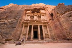 Petra in Jordan. The treasury or Al Khazna, it is the most magnificant and famous facade in Petra Jordan, it is 40 meters high, 2014 in Jordan Royalty Free Stock Image