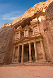 Petra in Jordan. The treasury is also called Al Khazna, it is the most magnificant and famous facade in Petra Jordan, it is 40 meters high Stock Photos