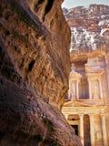 Petra Jordan. Treasury entrance rocks Royalty Free Stock Image