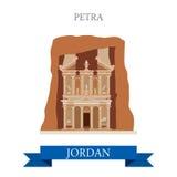 Petra in Jordan vector flat attraction landmarks. Petra in Jordan. Flat cartoon style historic sight showplace attraction web site vector illustration. World Stock Image