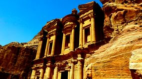 Petra, Jordan 19 04 2014: View from above at Ad Deir Monastery stone wonder in Petra royalty free stock photography