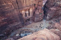 Petra in Jordan. View on Al Khazneh - commonly called The Treasury, one of the most famous buildings in Petra ancient rock city in Jordan stock image