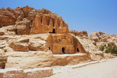 Petra, Jordan. View of the tombs in Petra, Jordan Royalty Free Stock Image
