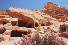 Petra, Jordan. View of the tombs in Petra, Jordan Stock Photo