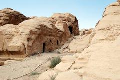 Petra, Jordan. View of the tombs in Petra, Jordan royalty free stock photos