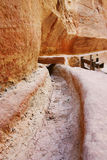 Petra Jordan- Water way erosion on the stone Royalty Free Stock Photography