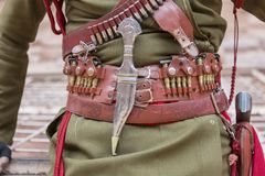 "PETRA, JORDANIË â€ ""25 December, 2015: Koninklijke militair die Petra bewaken Stock Foto's"