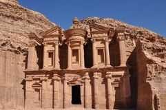 Petra-Jordanië, het klooster royalty-vrije stock foto
