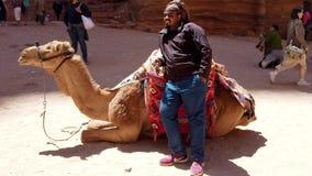 Petra, Jordanië - 2019-04-23 - mens bevindt zich naast zijn het knielen kameel stock videobeelden