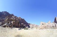 Petra, Jordanië, Midden-Oosten -- het is een symbool van Jordanië stock foto's