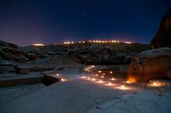 Petra, Jordania en la noche Fotos de archivo libres de regalías