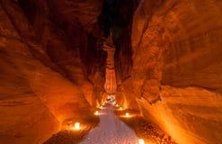 Petra, Jordania en la noche Imágenes de archivo libres de regalías