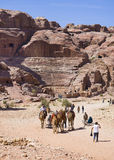 Petra, Jordania, rzymski amphitheatre Obrazy Stock