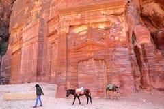 PETRA, JORDANIEN - 7. MÄRZ 2016: Bunte Gräber im äußeren Siq mit einem lokalen Beduinen, der seine Esel führt stockbilder