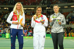 Petra Kvitova CZE L, Monica Puig PUR and Angelique Kerber GER during medal ceremony after tennis women`s singles final Stock Photography