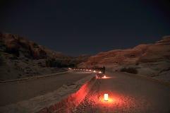 PETRA la nuit Image stock