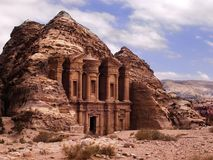 Petra monastery. Carved out of the rock face in Jordan Stock Images